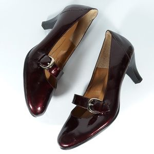 Sofft Red Patent Leather Round Toe High Heels